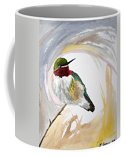 Coffee Mug featuring the painting Watercolor - Broad-tailed Hummingbird by Cascade Colors