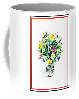 Watercolor Flowers Bouquet In The Glass Vase Coffee Mug