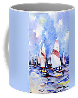 Watercolor Of Scow Boats Racing Torch Lake Mi Coffee Mug