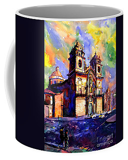 Watercolor Painting Of Church On The Plaza De Armas Cusco Peru Coffee Mug by Ryan Fox
