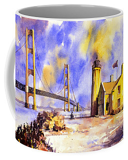 Watercolor Painting Of Ligthouse On Mackinaw Island- Michigan Coffee Mug