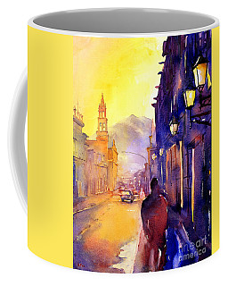 Watercolor Painting Of Street And Church Morelia Mexico Coffee Mug