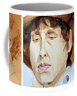 Watercolor Sketch Portraits Of A Woman In Thoughts Coffee Mug