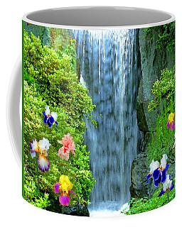 Waterfall And Iris Flowers Coffee Mug