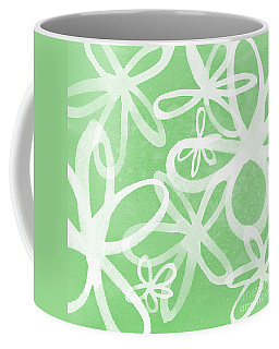 Waterflowers- Green And White Coffee Mug