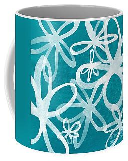 Waterflowers- Teal And White Coffee Mug