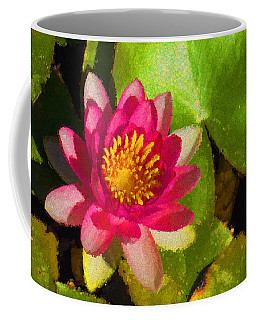 Waterlily Impression In Fuchsia And Pink Coffee Mug by Georgia Mizuleva