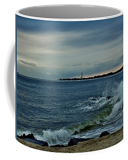 Wave Crashing At Cape May Cove Coffee Mug by Ed Sweeney