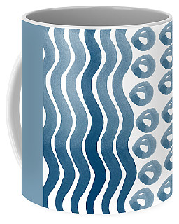 Waves And Pebbles- Abstract Watercolor In Indigo And White Coffee Mug