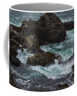 Waves Meet Rock Coffee Mug by Suzanne Luft