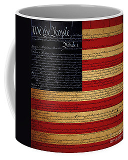 We The People - The Us Constitution With Flag - Square Coffee Mug