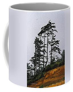 Weathered Fir Tree Above The Ocean Coffee Mug by Tom Janca