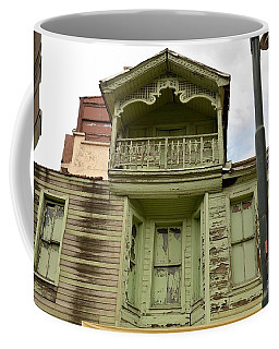 Coffee Mug featuring the photograph Weathered Old Green Wooden House by Imran Ahmed