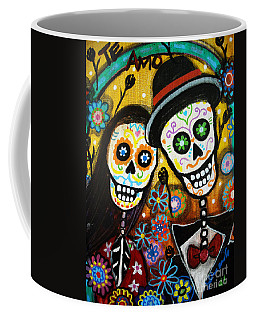 Coffee Mug featuring the painting Wedding Dia De Los Muertos by Pristine Cartera Turkus