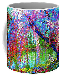 Weeping Beauty, Cherry Blossom Tree And Heron Coffee Mug