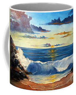 Coffee Mug featuring the painting West Coast Sunset by Lee Piper