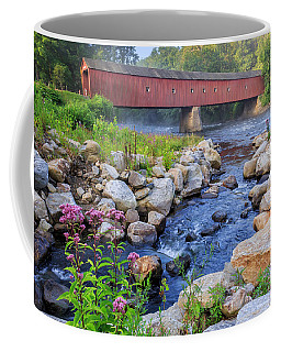 Coffee Mug featuring the photograph West Cornwall Covered Bridge Summer by Bill Wakeley