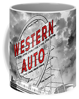 Western Auto Sign Downtown Kansas City B W Coffee Mug