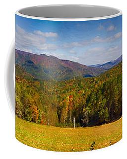 Western North Carolina Horses And Mountains Panorama Coffee Mug