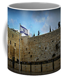 Western Wall And Israeli Flag Coffee Mug by Stephen Stookey