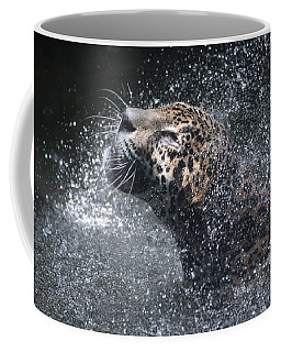 Coffee Mug featuring the pyrography Wet Jaguar  by Shoal Hollingsworth