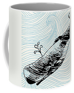 Whale On Wave Paper Coffee Mug