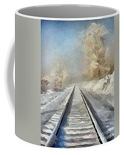 Coffee Mug featuring the painting Where Is The Train by Dragica  Micki Fortuna