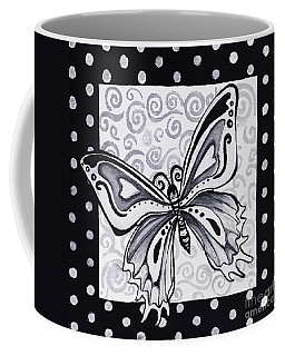 Whimsical Black And White Butterfly Original Painting Decorative Contemporary Art By Madart Studios Coffee Mug