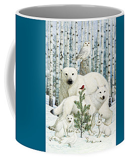 White Animals Red Bird Coffee Mug