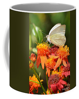 White Butterfly On Mexican Flame Coffee Mug