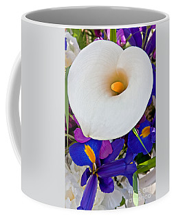 White Calla Lily Bouquet Art Prints Coffee Mug by Valerie Garner