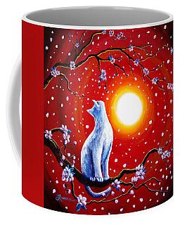 White Cat In Bright Sunset Coffee Mug