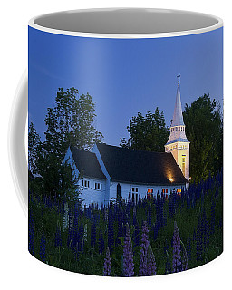White Church At Dusk In A Field Of Lupines Coffee Mug