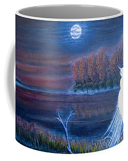 White Crane Dancing In The Light Of The Moon Coffee Mug