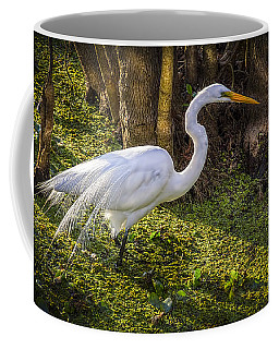 White Egret On The Hunt Coffee Mug by Marvin Spates