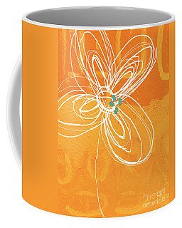 White Flower On Orange Coffee Mug
