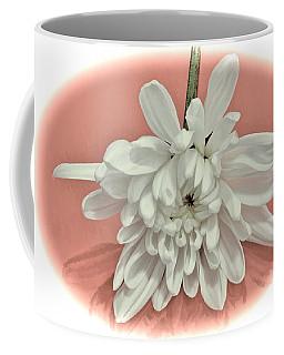 White Flower On Pale Coral Vignette Coffee Mug