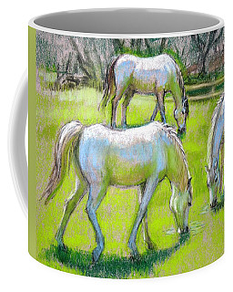Coffee Mug featuring the painting White Horses Grazing by Sue Halstenberg
