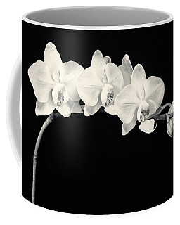 White Orchids Monochrome Coffee Mug