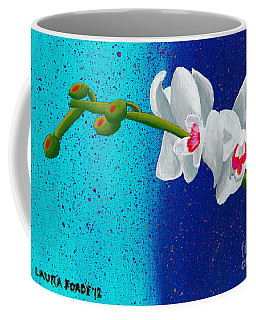 Coffee Mug featuring the painting White Orchids On Blue by Laura Forde