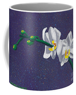 Coffee Mug featuring the painting White Orchids On Dark Blue by Laura Forde