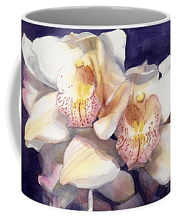 White Orchids Watercolor Coffee Mug