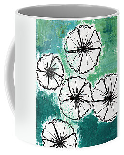 White Petunias- Floral Abstract Painting Coffee Mug