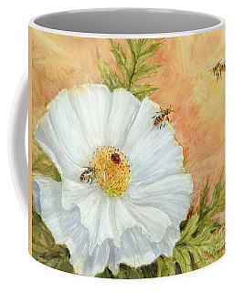 White Poppy And Bees Coffee Mug