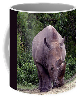 White Rhinoceros Water Coloring Coffee Mug