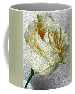 Coffee Mug featuring the photograph White Rose In Oil Effect by Nina Silver