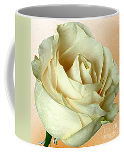 Coffee Mug featuring the photograph White Rose On Sepia by Nina Silver