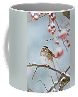 White-throated Sparrow Braving The Snow Coffee Mug