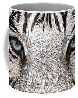 White Tiger Eyes Painting Coffee Mug by Rachel Stribbling