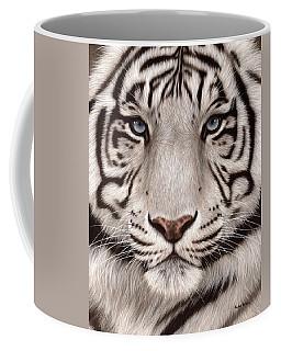 White Tiger Painting Coffee Mug by Rachel Stribbling